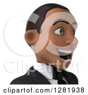 Clipart Of A 3d Young Black Businessman Facing Right From The Shoulders Up Royalty Free Vector Illustration