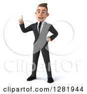 Clipart Of A 3d Young Brunette White Businessman With An Idea Royalty Free Vector Illustration