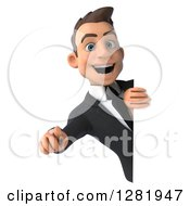 Clipart Of A 3d Young Brunette White Businessman Pointing At You Around A Sign Royalty Free Vector Illustration