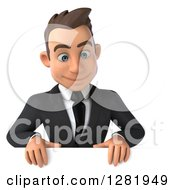 3d Young Brunette White Businessman Looking Down Over A Sign
