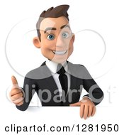 3d Happy Young Brunette White Businessman Holding A Thumb Up Over Sign