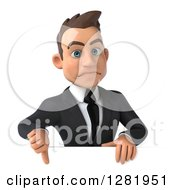 3d Unhappy Young Brunette White Businessman Holding A Thumb Down Over Sign