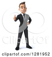 3d Happy Young Brunette White Businessman Standing And Holding A Thumb Up