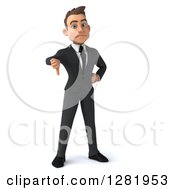 3d Unhappy Young Brunette White Businessman Standing And Holding A Thumb Down