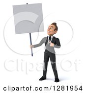 3d Young Brunette White Businessman Holding And Pointing To A Blank Sign