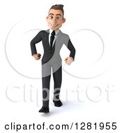 3d Young Brunette White Businessman Walking