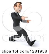 Clipart Of A 3d Young Brunette White Businessman Walking To The Right And Pointing Royalty Free Vector Illustration
