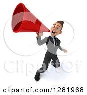 3d Young Brunette White Businessman Announcing Upwards With A Megaphone