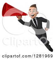 3d Young Brunette White Businessman Flying And Announcing With A Megaphone