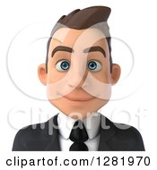 Clipart Of A 3d Young Brunette White Businessman From The Shoulders Up Royalty Free Vector Illustration