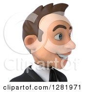 Clipart Of A 3d Young Brunette White Businessman From The Shoulders Up Facing Right Royalty Free Vector Illustration