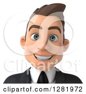 Clipart Of A 3d Smiling Young Brunette White Businessman From The Shoulders Up Royalty Free Vector Illustration