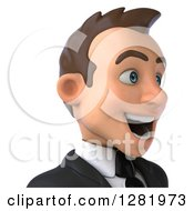 Clipart Of A 3d Excited Young Brunette White Businessman From The Shoulders Up Facing Right Royalty Free Vector Illustration