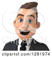 Clipart Of A 3d Excited Young Brunette White Businessman From The Shoulders Up Royalty Free Vector Illustration
