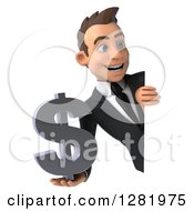 3d Young Brunette White Businessman Holding A Dollar Currency Symbol Around A Sign