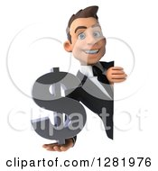 3d Young Brunette White Businessman Smiling And Holding A Dollar Currency Symbol Around A Sign