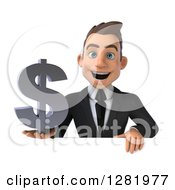 3d Young Brunette White Businessman Holding A Dollar Currency Symbol Over A Sign
