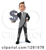 3d Young Brunette White Businessman Holding A Dollar Currency Symbol