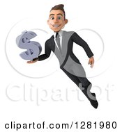 3d Young Brunette White Businessman Flying And Holding A Dollar Currency Symbol