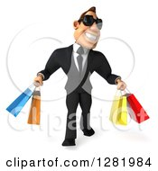 Clipart Of A 3d White Businessman Wearing Sunglasses And Walking With Colorful Shopping Or Gift Bags Royalty Free Vector Illustration