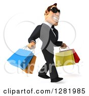 Clipart Of A 3d White Businessman Wearing Sunglasses And Walking To The Right With Colorful Shopping Or Gift Bags Royalty Free Vector Illustration
