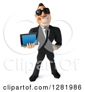 Clipart Of A 3d White Businessman Wearing Sunglasses And Holding A Tablet Computer Royalty Free Vector Illustration