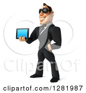 Clipart Of A 3d White Businessman Wearing Sunglasses Facing Left And Holding A Tablet Computer Royalty Free Vector Illustration