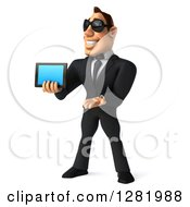 Clipart Of A 3d White Businessman Wearing Sunglasses Facing Left Presenting And Holding A Tablet Computer Royalty Free Vector Illustration