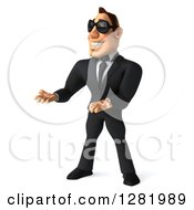 Clipart Of A 3d White Businessman Wearing Sunglasses Facing Left And Presenting Royalty Free Vector Illustration