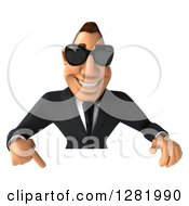 Clipart Of A 3d White Businessman Wearing Sunglasses And Pointing Down Over A Sign Royalty Free Vector Illustration