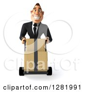 Clipart Of A 3d Happy White Businessman Moving Boxes On A Dolly Royalty Free Vector Illustration