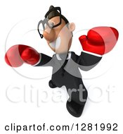 Clipart Of A 3d Short White Bespectacled Businessman Wearing Boxing Gloves And Punching To The Left Royalty Free Vector Illustration