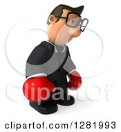 Clipart Of A 3d Short White Bespectacled Businessman Facing Right Wearing Boxing Gloves And Pouting Royalty Free Vector Illustration