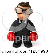 Clipart Of A 3d Short White Bespectacled Businessman Wearing Boxing Gloves And Pouting Royalty Free Vector Illustration
