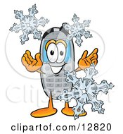 Wireless Cellular Telephone Mascot Cartoon Character With Three Snowflakes In Winter
