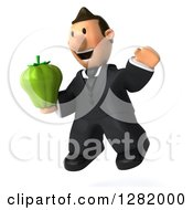 Clipart Of A 3D Short White Businessman Facing Left Jumping And Holding A Green Bell Pepper Royalty Free Vector Illustration