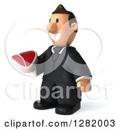 Clipart Of A 3D Short White Businessman Facing Left And Holding A Beef Steak Royalty Free Vector Illustration