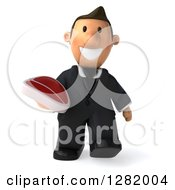Clipart Of A 3D Short White Businessman Walking And Holding A Beef Steak Royalty Free Vector Illustration