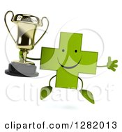 Clipart Of A 3d Happy Green Holistic Cross Character Jumping And Holding A Trophy Royalty Free Illustration