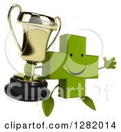 Clipart Of A 3d Happy Green Holistic Cross Character Facing Right Jumping And Holding A Trophy Royalty Free Illustration