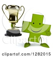 Clipart Of A 3d Happy Green Holistic Cross Character Holding And Pointing To A Trophy Royalty Free Illustration