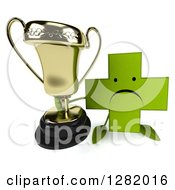 Clipart Of A 3d Unhappy Green Holistic Cross Character Holding Up A Trophy Royalty Free Illustration