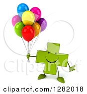 Clipart Of A 3d Happy Green Holistic Cross Character Shrugging And Holding Party Balloons Royalty Free Illustration