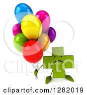 Clipart Of A 3d Unhappy Green Holistic Cross Character Holding Up Party Balloons Royalty Free Illustration