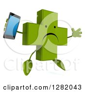 3d Unhappy Green Holistic Cross Character Facing Slightly Right Jumping And Holding A Smart Cell Phone