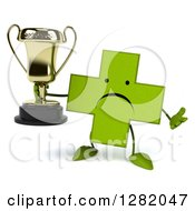 Clipart Of A 3d Unhappy Green Holistic Cross Character Shrugging And Holding A Trophy Royalty Free Vector Illustration