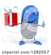 Clipart Of A 3d Happy Blue And White Pill Character Holding A Gift And Thumb Up Royalty Free Illustration