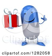 3d Happy Blue And White Pill Character Holding Up A Finger And A Gift