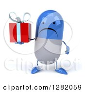 Clipart Of A 3d Unhhappy Blue And White Pill Character Holding A Gift Royalty Free Illustration