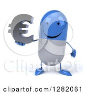 Clipart Of A 3d Happy Blue And White Pill Character Holding A Euro Currency Symbol Royalty Free Vector Illustration